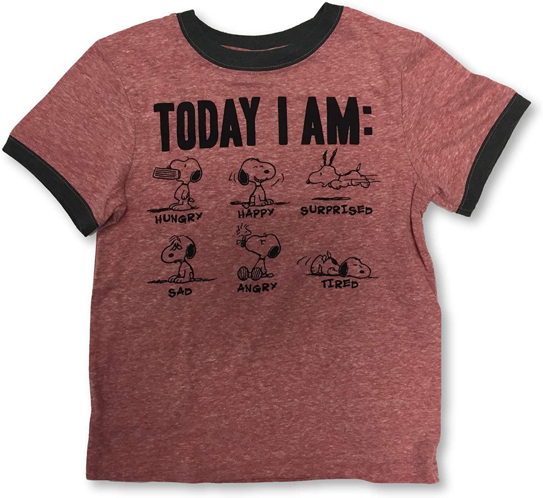 Peanuts Snoopy Boy's Youth Today I Am Crew Neck T-Shirt