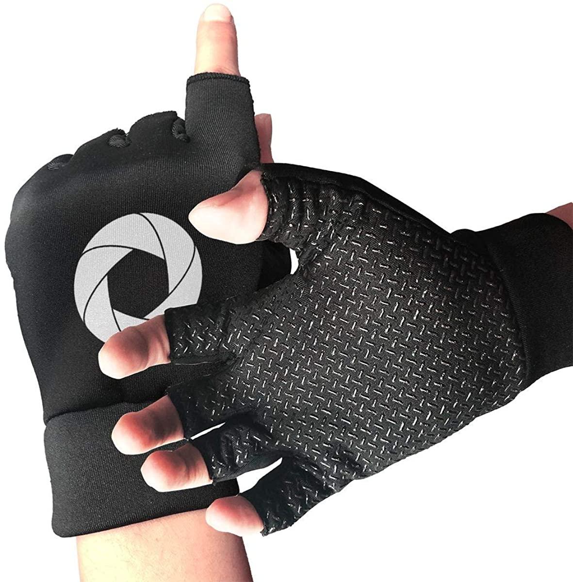Camera Aperture Shutter Photography Half Finger Fingerless Short No-Slip Cycling Gloves Mitten For Bike Skate
