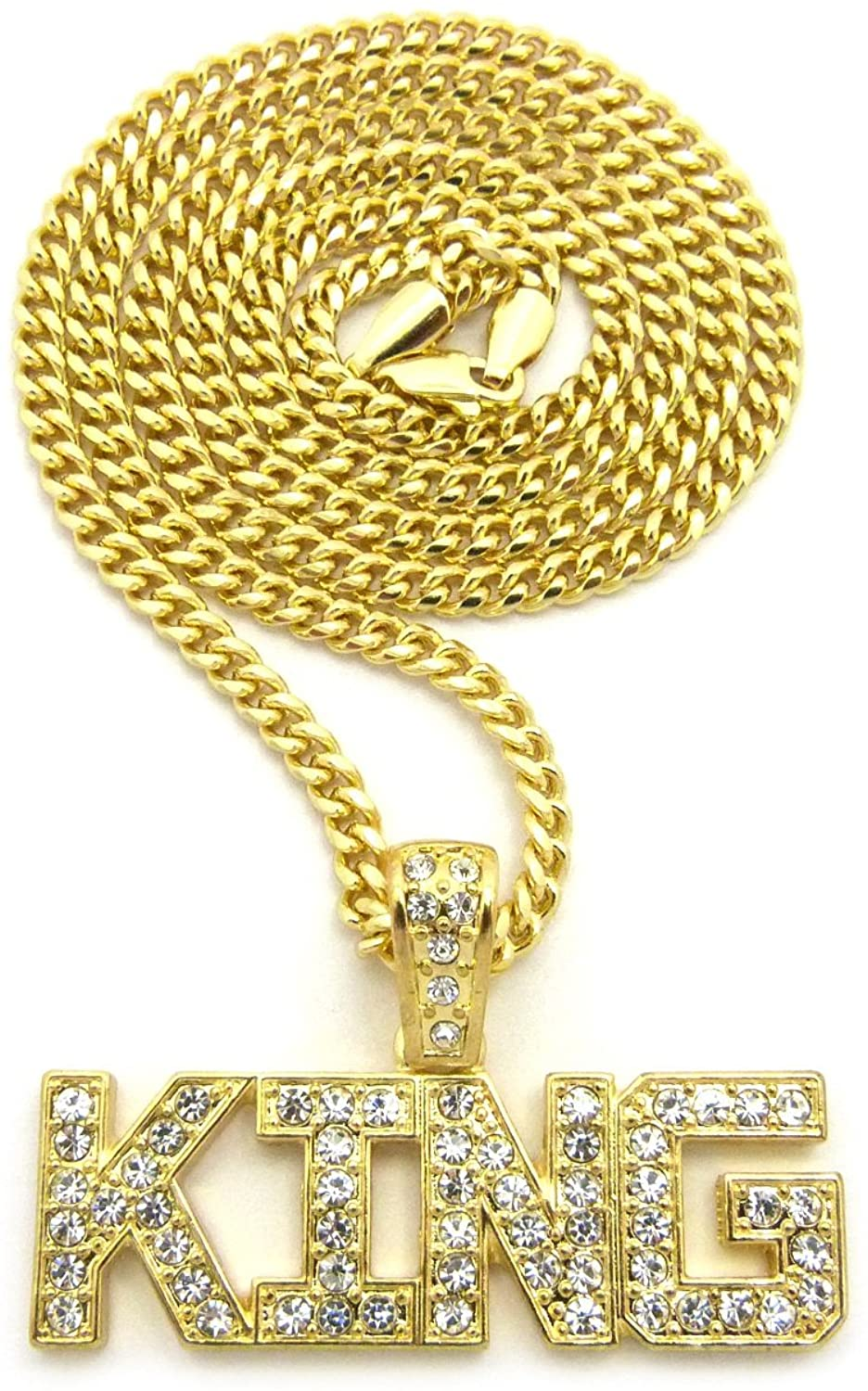 Fashion 21 Hip Hop Micro King Word Pendant Various Chain Necklace in Gold, Silver Tone
