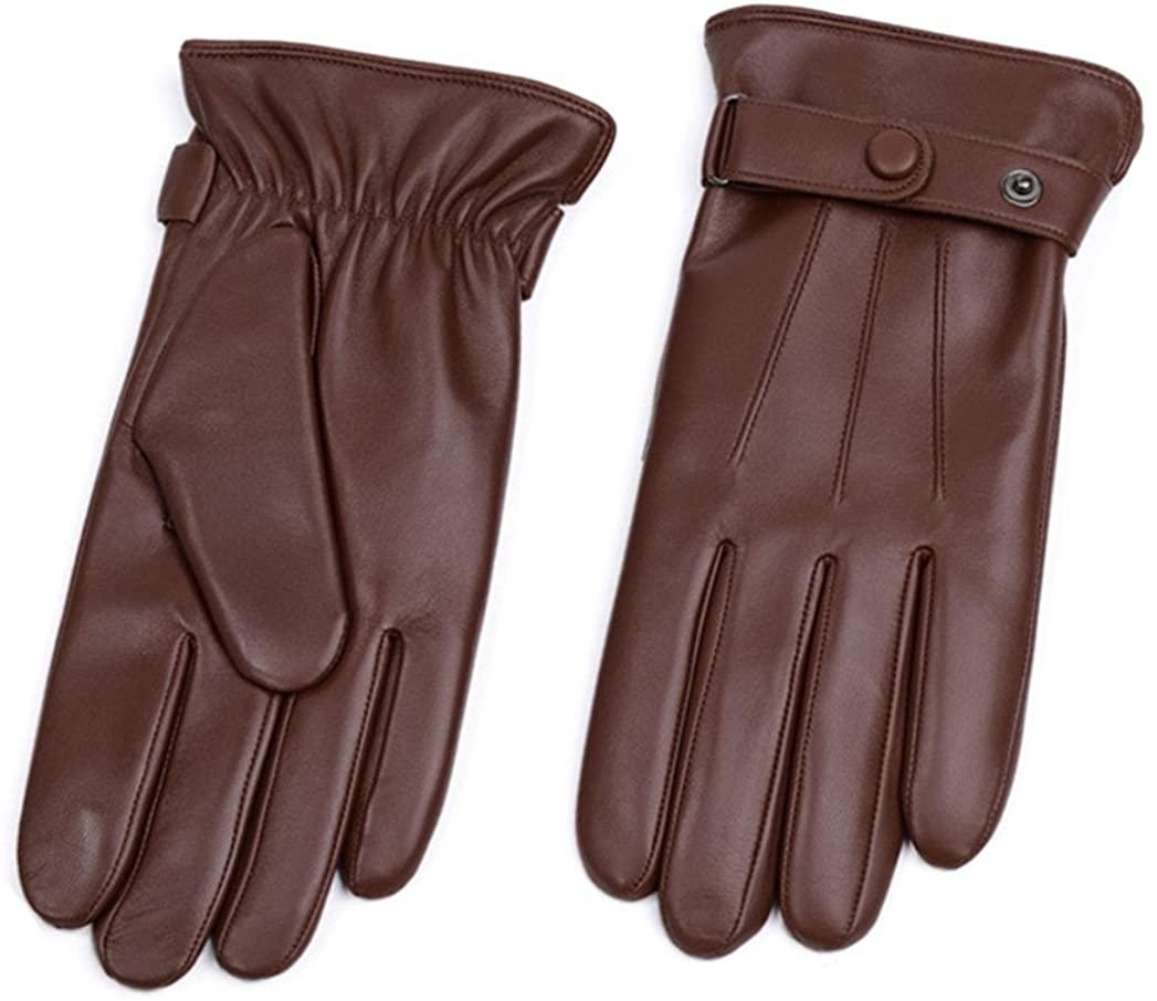 Men's Winter Soft Sheepskin Real Leather Gloves Touch-Screen Driving Warm Velvet Lined