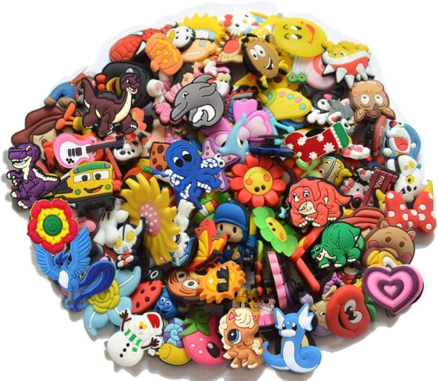 20 Piece Colorful Random Shoe Charms for Crocs with Bracelet For Girls, Boys, Teens