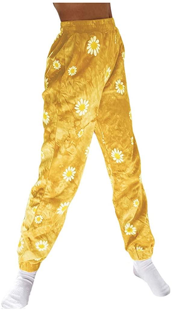 jhgfj Fashion Women Daisy Tie-dye Printing Sweatpants Casual Long Pants