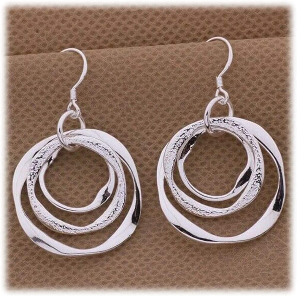 Cren Handmade Irregular Circle Dangle Earrings Boho Round Drop Earrings Silver