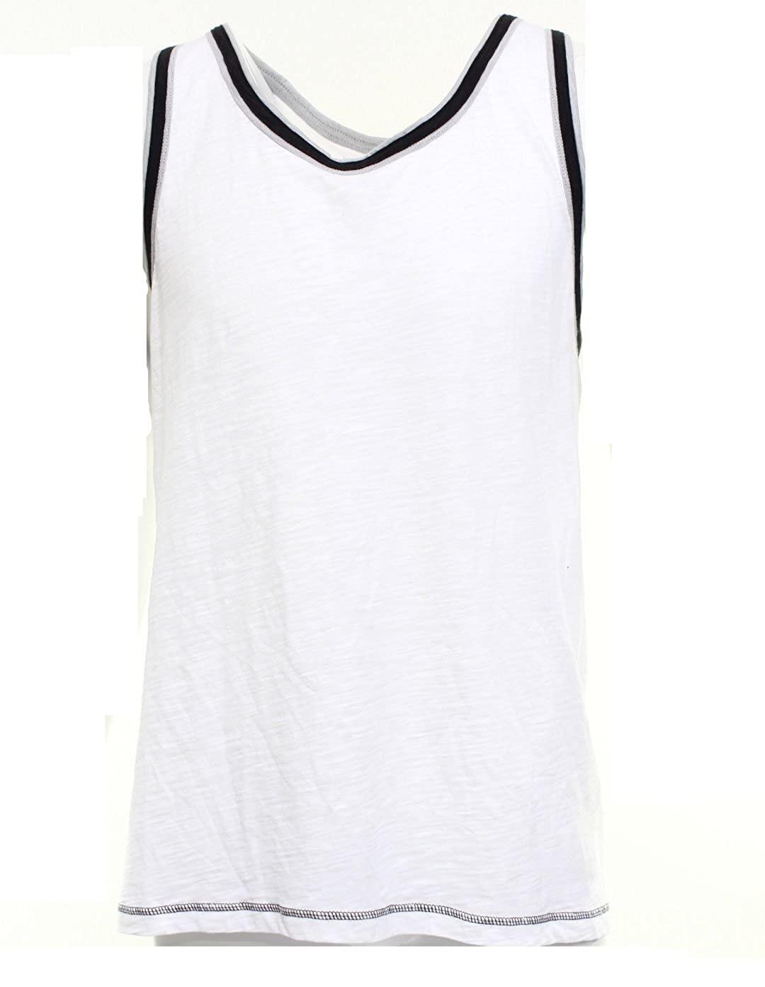 INC Sleevelvess Muscle Black Ring Shirt Mens Large Tank Cotton White L