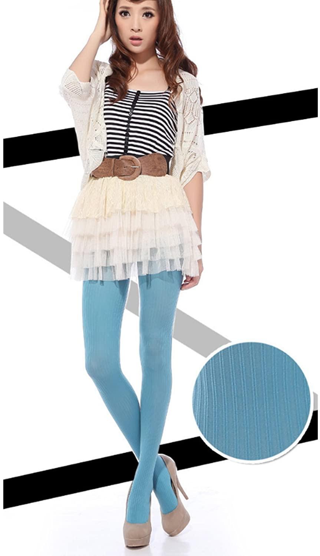 Micrkrowen Ms. Vertical Stripes Show Thin Hundred Take Pantyhose Velvet Tacking Socks (Lake Blue)
