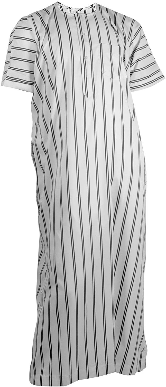 Hijaz Silky White Double Stripe Casual Short Sleeve Mens Thobe with Pockets