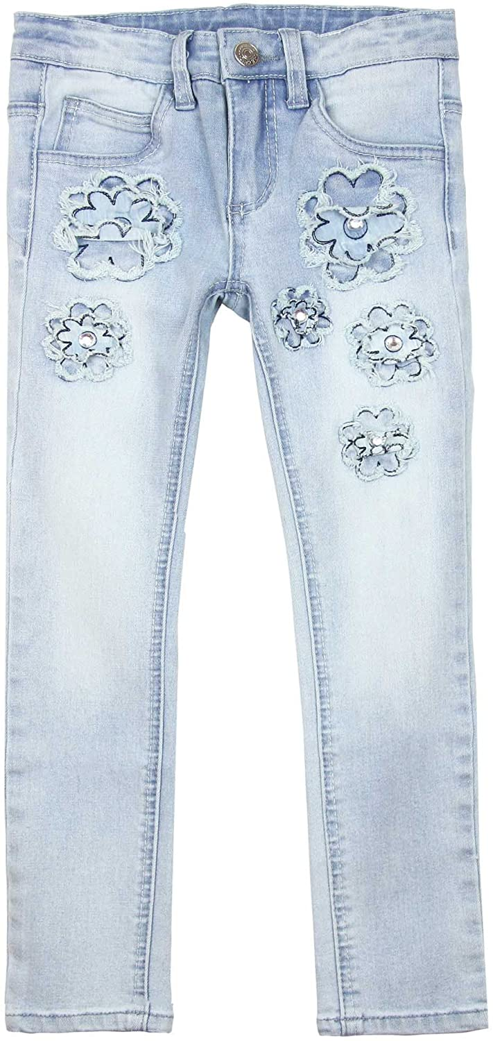 Le Chic Girl's Skinny Denim Pants with Flowers, Sizes 4-14