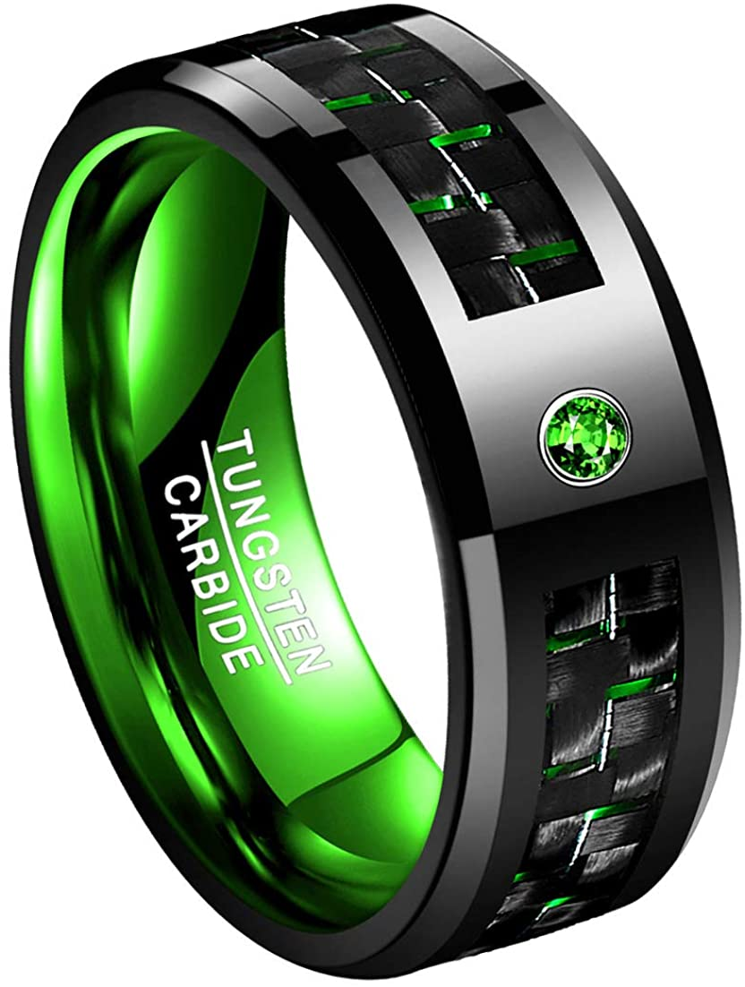 TUNGSTORY 8mm Men's Blue/Green Black Tungsten Carbide Wedding Ring Inlaid with Carbon Fiber and Zirconium High Polished Beveled Edge Comfort Fit
