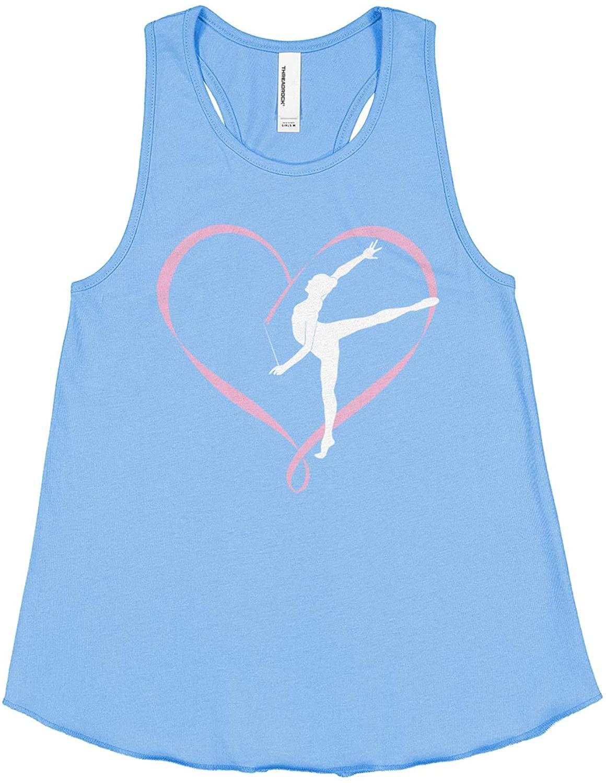 Threadrock Big Girls Gymnastics Gymnast Heart Ribbon Love Racerback Tank Top