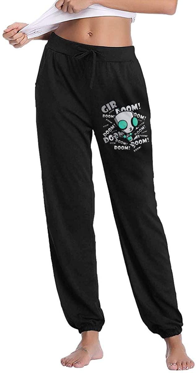 Women's Pant Trousers Sweatpants Invader Zim Gir Doom Logo Original Minimalist Style Black