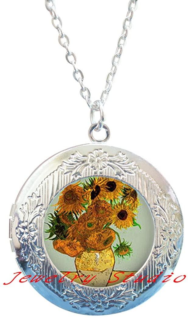 Sunflower Painting Locket Pendant Locket Necklace glass cabochon Locket Pendant sunflower Locket Necklace gifts,sunflower jewelry,spring jewelry, spring flower gift idea-HZ00235