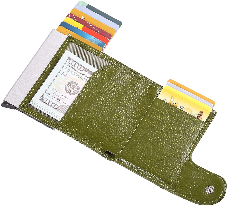 Genuine Leather wallet, Slim Aluminum RFID POP-UP Credit card Holder