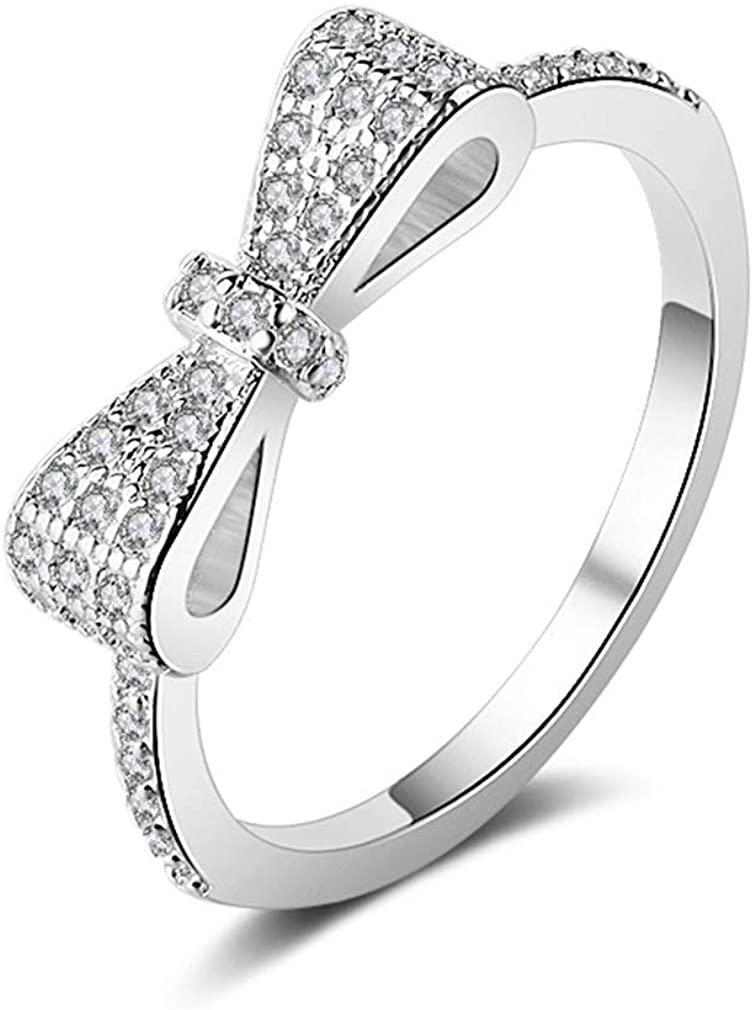 YAZILIND Cubic Zirconia Anniversary Wedding Band Eternity Love Ring Bowknot Shape Jewelry