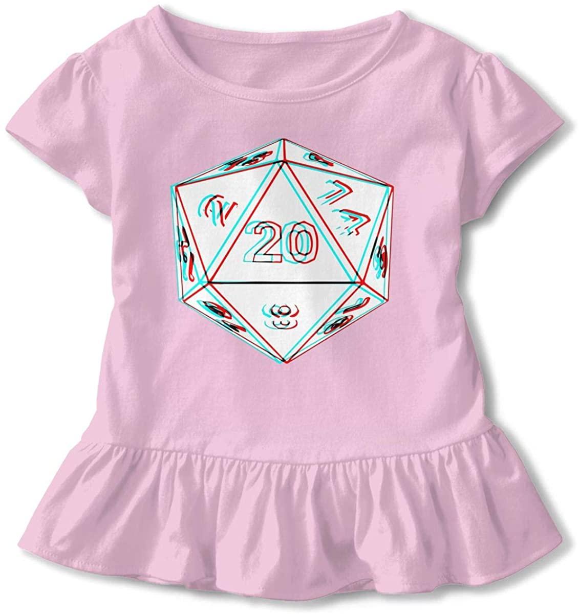 EASON-G Toddler Girl's Ruffle T-Shirt 3D 20 Dice Short Sleeve 2-6T