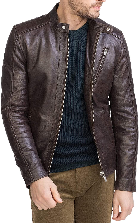 Men's Genuine Lambskin Leather Jacket MJ 351