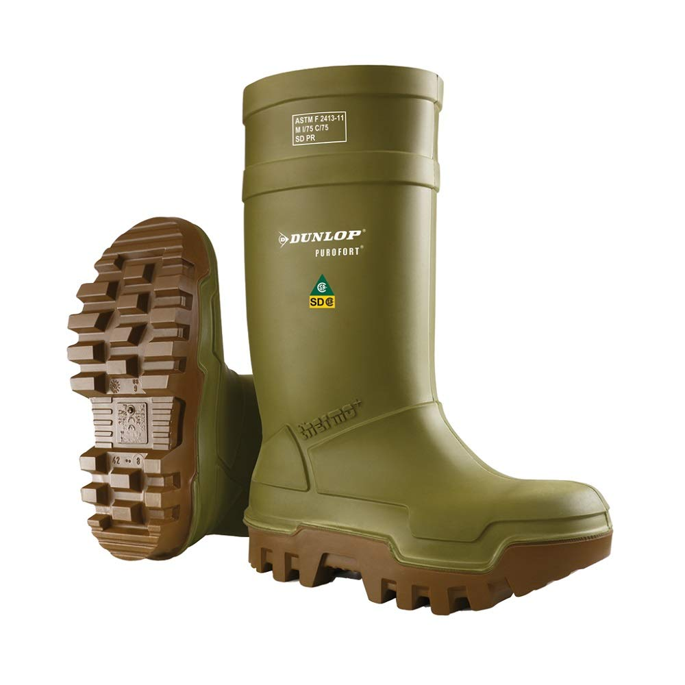 Dunlop E66284307 Purofort Thermo+ Full Safety Omega/EH Cold Protection Boot, Premium Insole, -58°F Cold Insulation, Steel Toe Cap, Green/Brown, Size 7