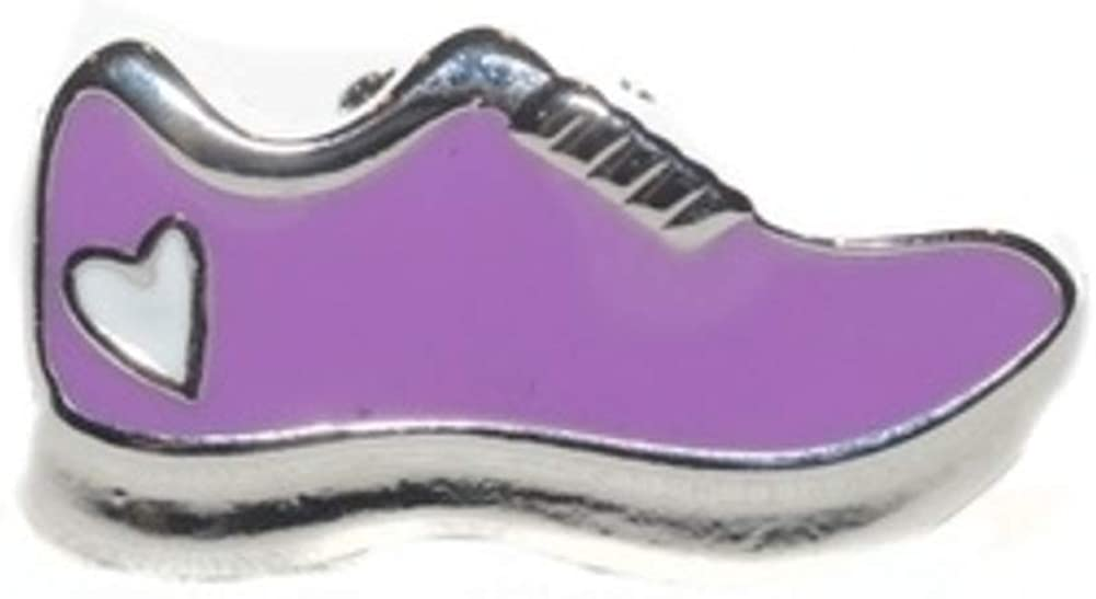 BeeCause Sneaker Charms - Running Sneaker with Heart | Purple - Shoe Lace Sneaker Charm - Pack of 1