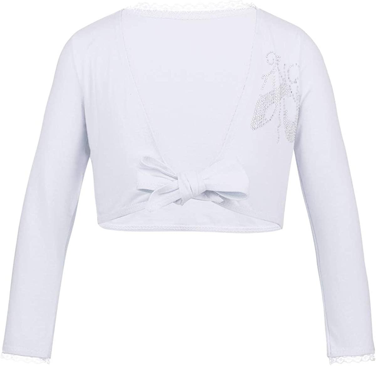 ranrann Kids Girls Ballet Dance Long Sleeves Cotton Wrap Top Front Knot Gymnastic Short Cardigan