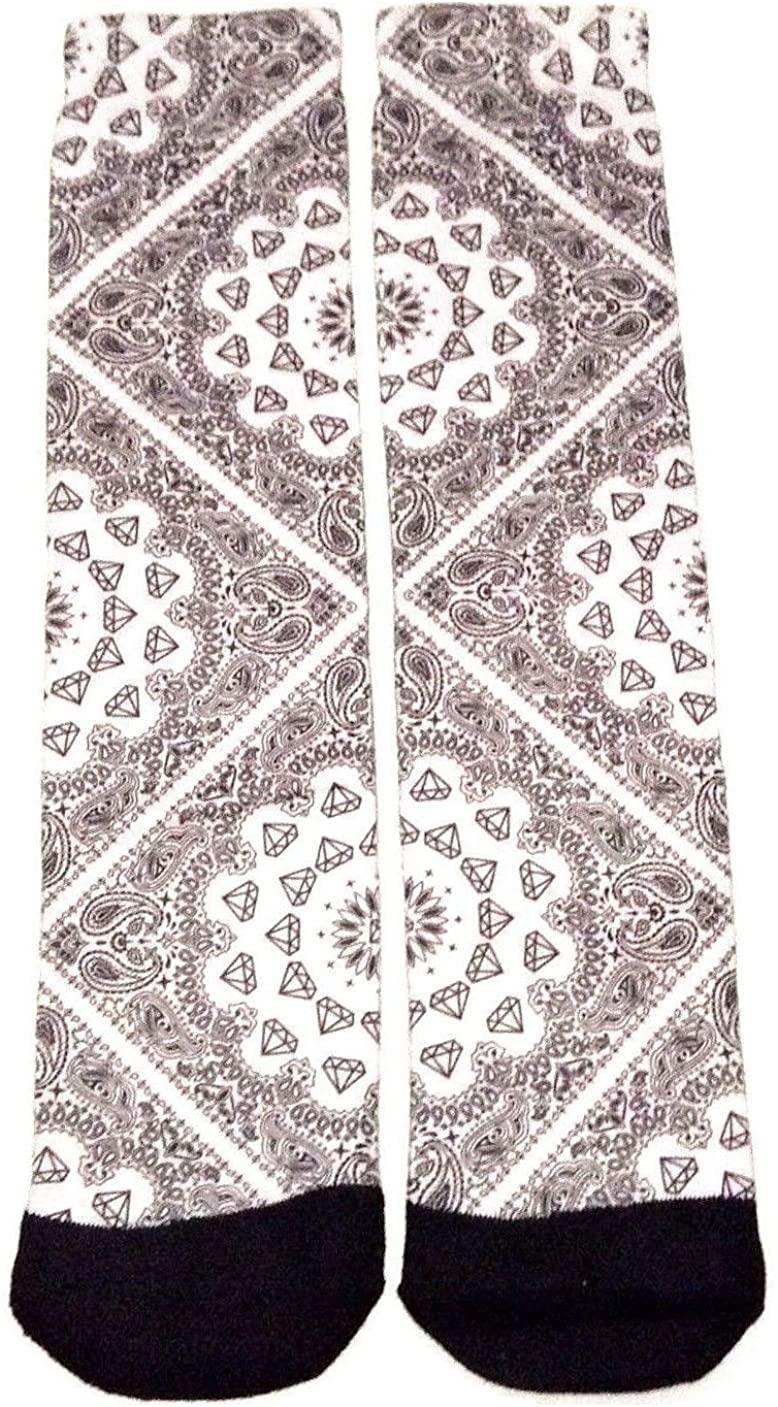 White Diamond Paisley Bandana Sublimated Print Crew Socks