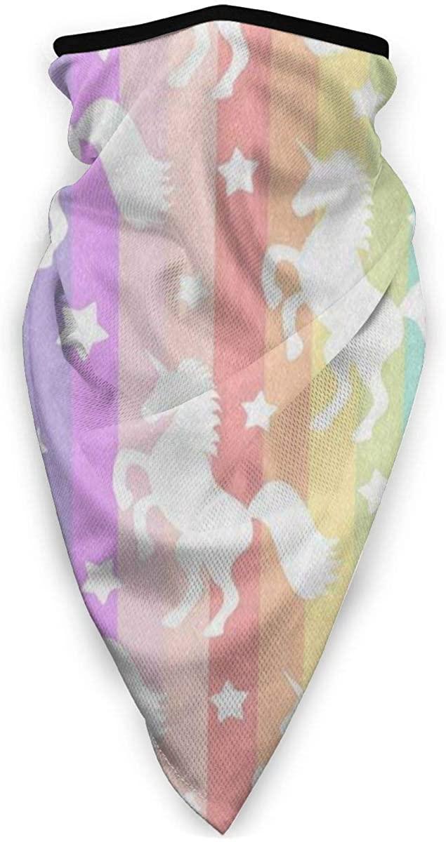 Cartoon Unicorn Rainbow Striped Half Face Mask Balaclava Neck Gaiters UV Sun Masks Scarf for Motorcycling