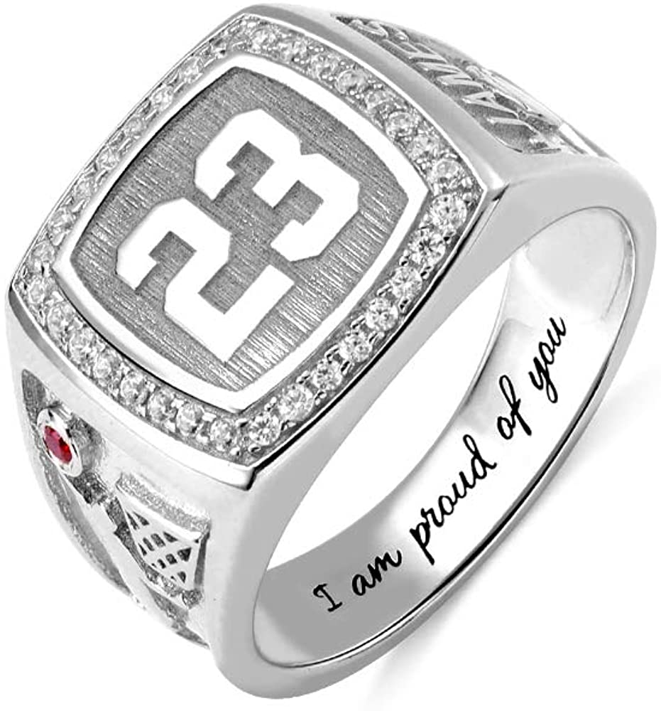 AILIN Jewelry Basketball Signet Ring with Birthstone Optional Number or Intials 925 Sterling Silver Engraved Rings for Boys Friends