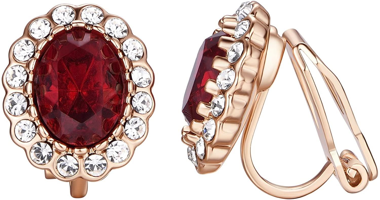 Yoursfs Clip Earrings for Women Red Crystal Small Size Non Pierced Earrings Sweet Girls Earrings