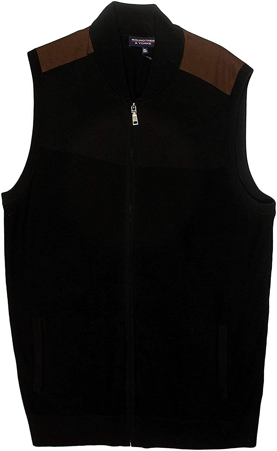 Roundtree & Yorke Big Tall Men's Cotton Full Zip Textured Sweater Vest with Sueded Trim