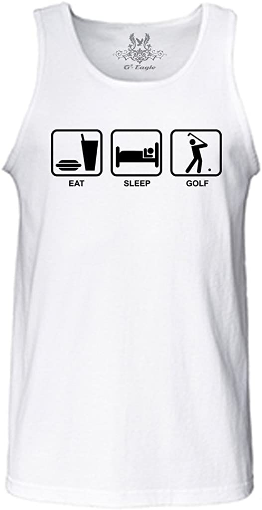 Gs-eagle Men's Printed Eat Sleep Golf Funny Graphic Tank Top
