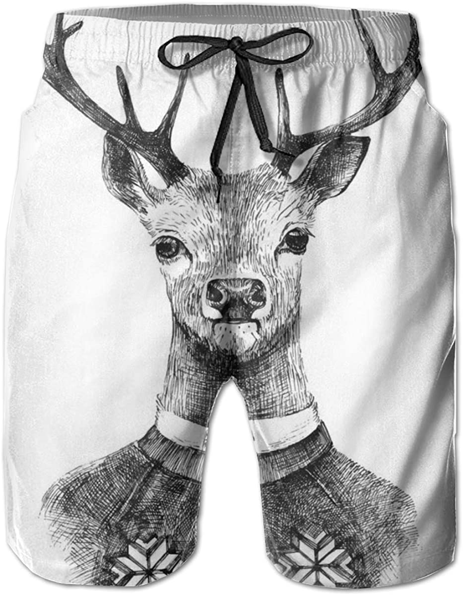 Men's Swim Trunks Quick Dry Beach Shorts Hand Drawn Deer Portrait in A Nordic Style Knitted Sweater Hipster Christmas XL