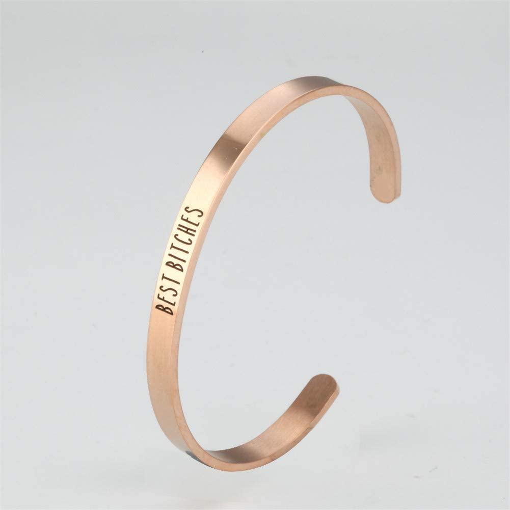 Yvettewu Cuff Bracelet,Stainless-Steel Three Colors Cuff Bangle Bracelet-Gift for Best Friends