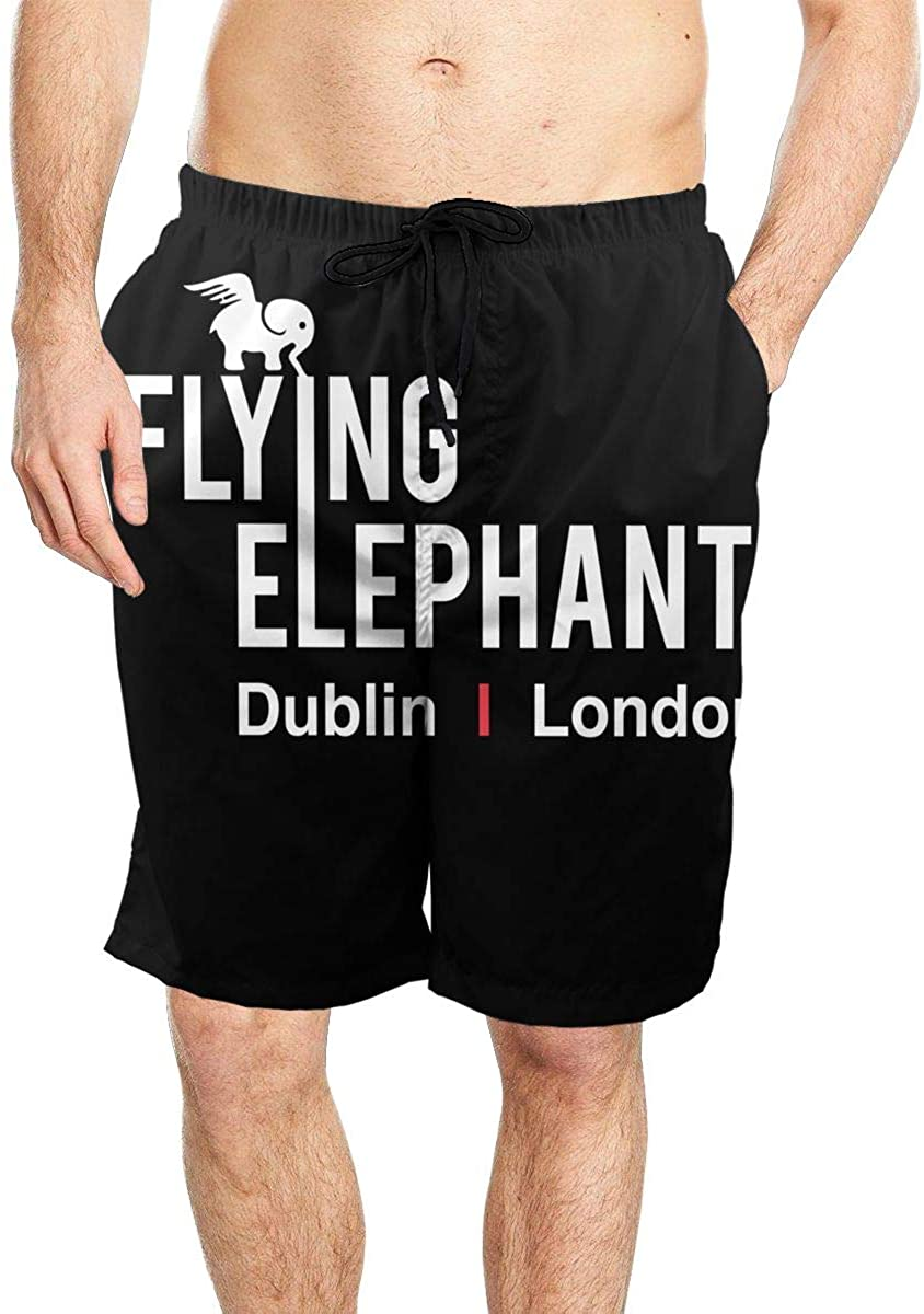 TZT Flying Elephant Cool Men's Beach Shorts Quick-Drying Swimming Shorts with Pockets