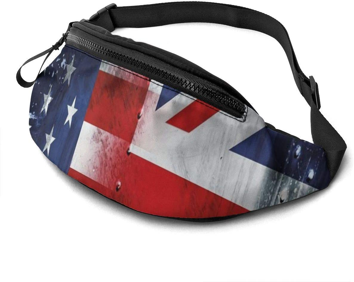 USA Flags Fanny Pack for Men Women Waist Pack Bag with Headphone Jack and Zipper Pockets Adjustable Straps
