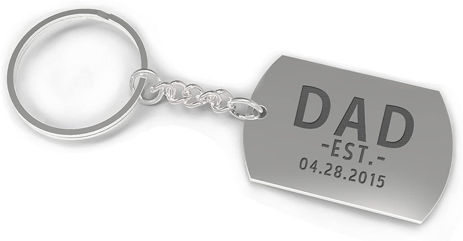 Custom Nickel Plated Keychain for Dad - Dad Est. [custom date] Father's Day Gift