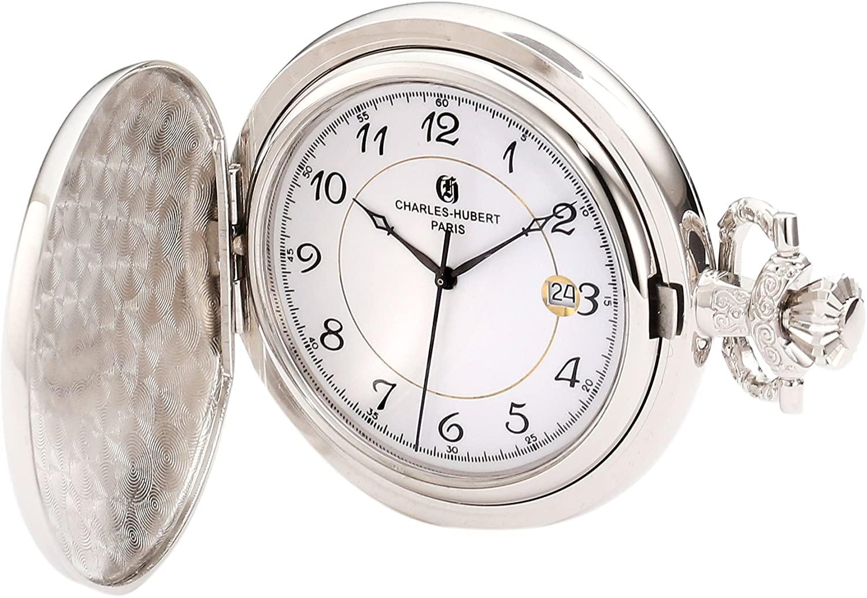 Charles-Hubert, Paris 3927 Classic Collection Chrome Finish Brass Quartz Pocket Watch