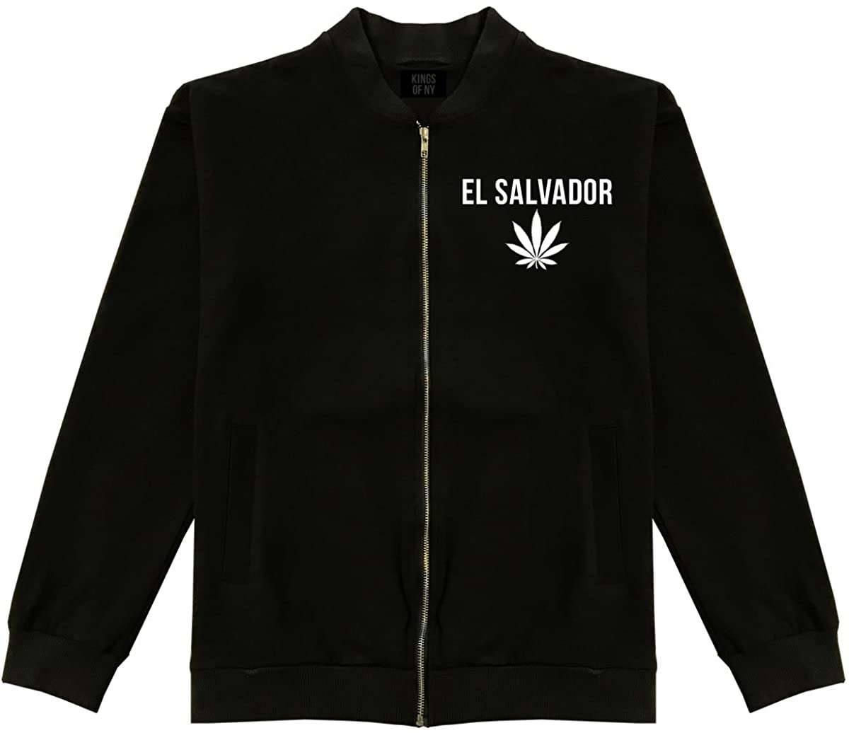 Country of El Salvador Weed Leaf Marijuana Cotton Bomber Jacket