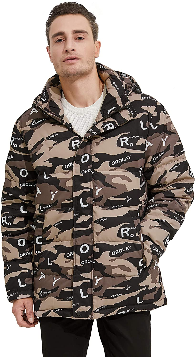 Orolay Men's Camo Down Jacket Winter Coat Puffer Jacket with Removable Hood
