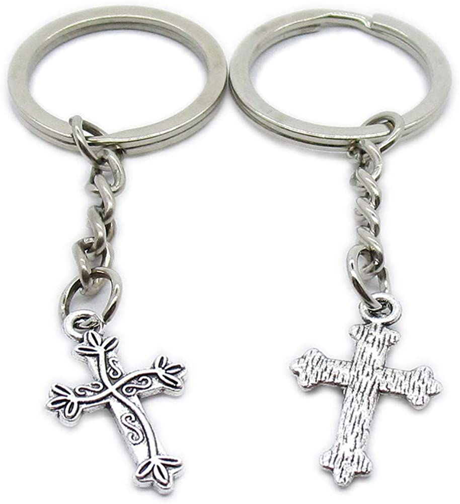 Antique Silver Plated Keyrings Keychains ZF7N4 Leaf Latin Cross Key Ring Chains Tags Clasps