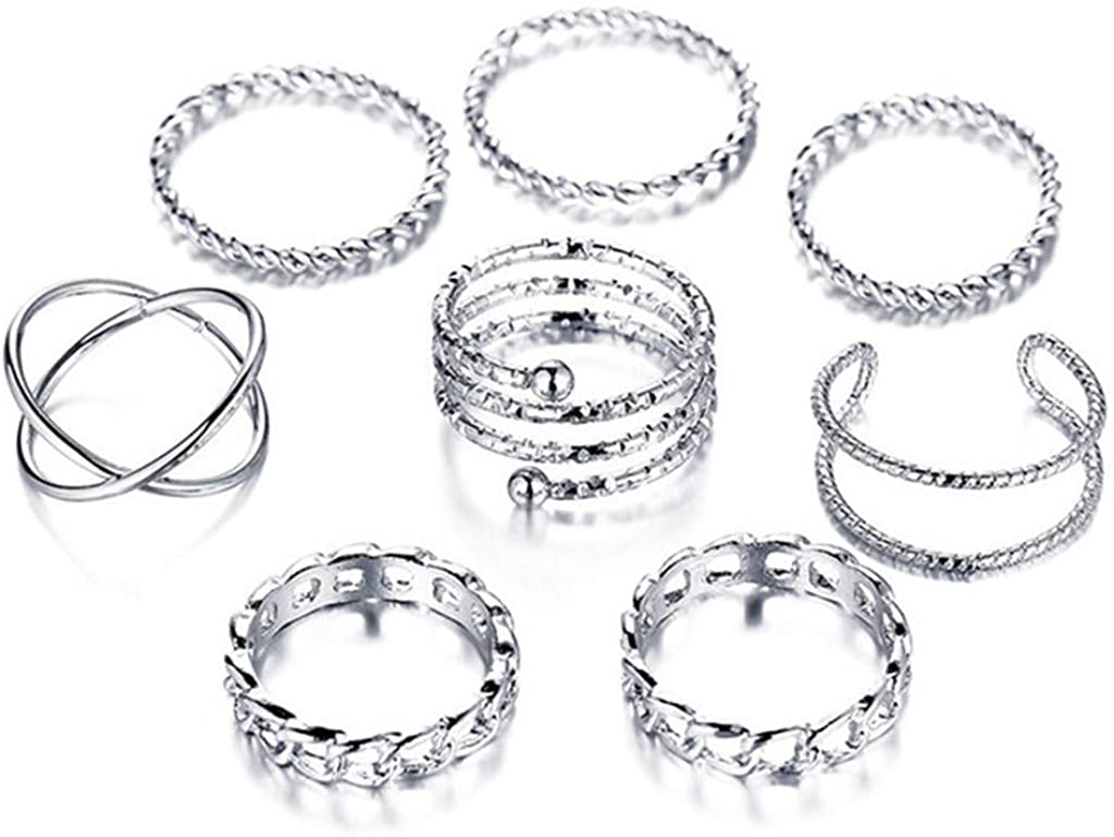 Qvwanle 4 PC Women's Ring Fashion Simple Generous Sleeve Joint Ring Opening Ring Jewelry Gift for Teen Girls