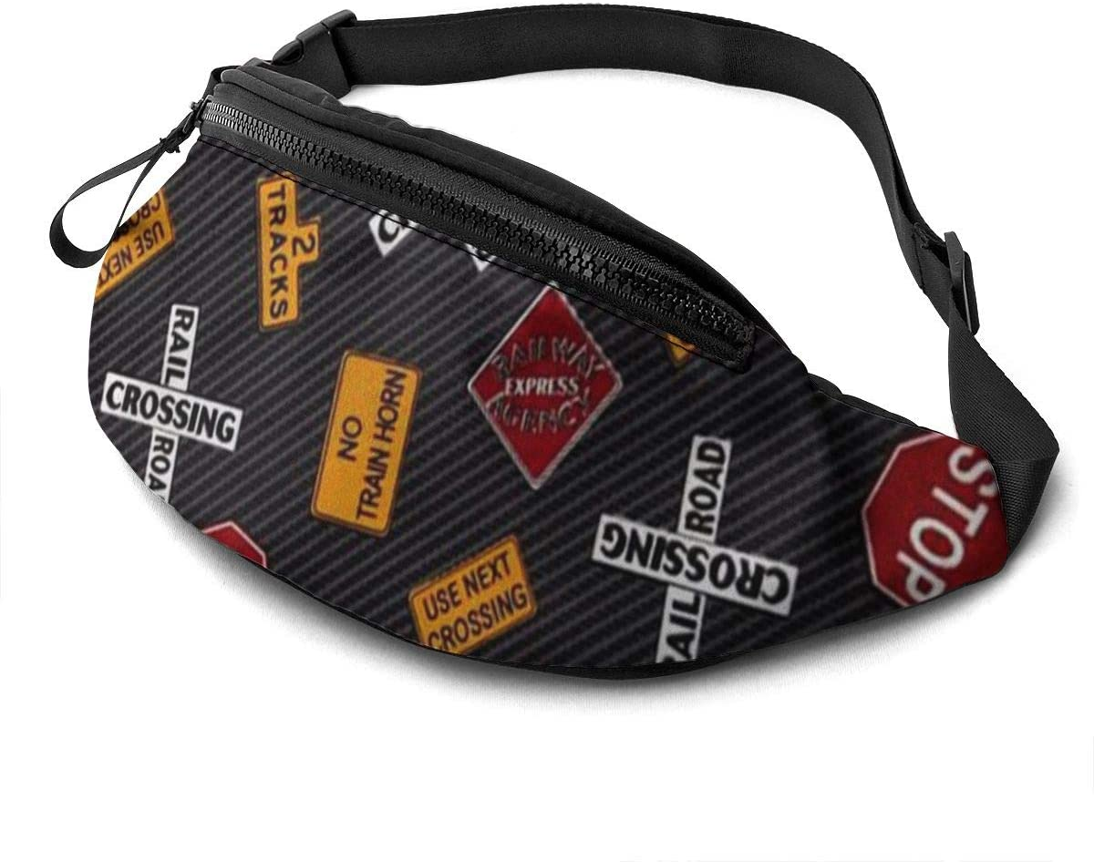 Traffic sign Fanny Pack for Men Women Waist Pack Bag with Headphone Jack and Zipper Pockets Adjustable Straps