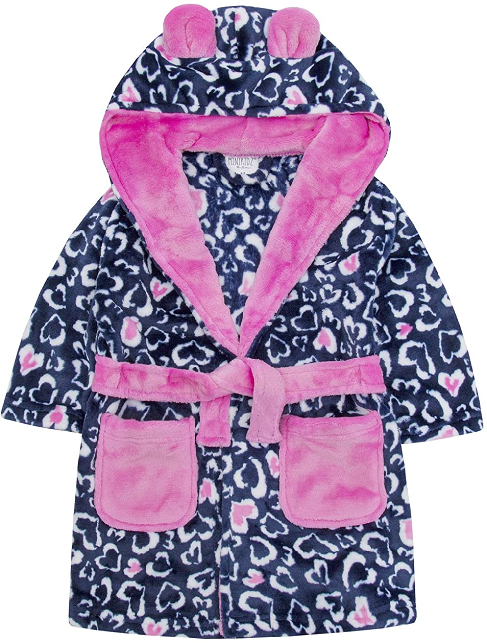 MiniKidz Infant Girls Leopard Print Dressing Gown - Flannel Fleece Hooded Robe Blue