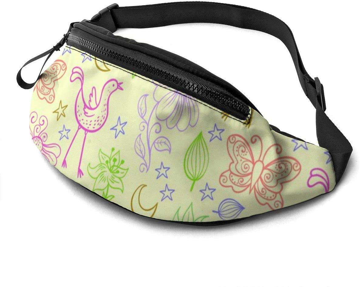 Colored Birds And Leaves Fanny Pack For Men Women Waist Pack Bag With Headphone Jack And Zipper Pockets Adjustable Straps