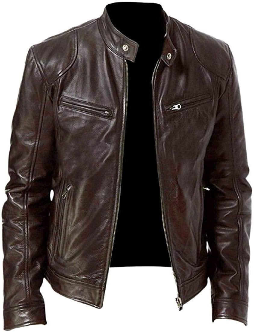 Sudhguyfuy Men Moto Biker Faux Leather Outdoor Zipper Stand Collar Jacket Coat