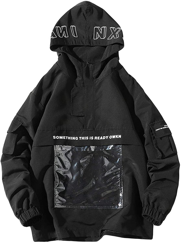 Flygo Mens Juniors Loose Fit 1/2 Zipper Hooded Pullover Jacket