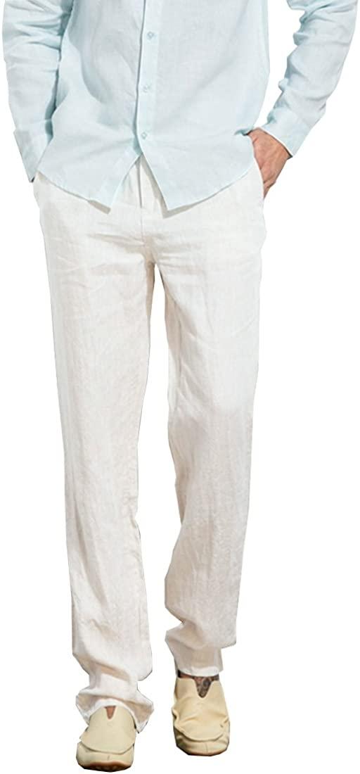 Manwan walk Men's Casual Beach Trousers Elastic Loose Fit Lightweight Linen Summer Pants K70