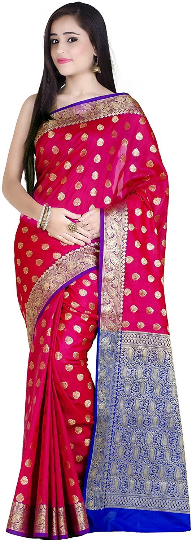 Chandrakala Women's Kataan Silk Blend Indian Ethnic Banarasi Saree with Unstitched Blousepiece(1234)