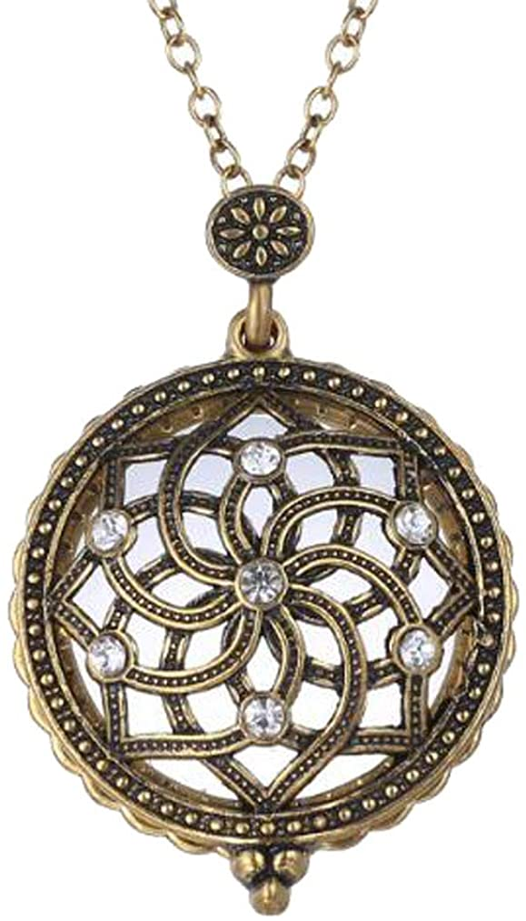 M/A Vintage Locket 5X Zoom Magnifying Glass Sliding Top Magnet Reading Necklace Religious Lotus Pendant