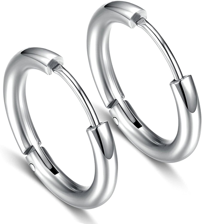 KnSam Women's Men's Hoop Earrings Stainless Steel 1 Pair Pierced Earrings Silver 16MM