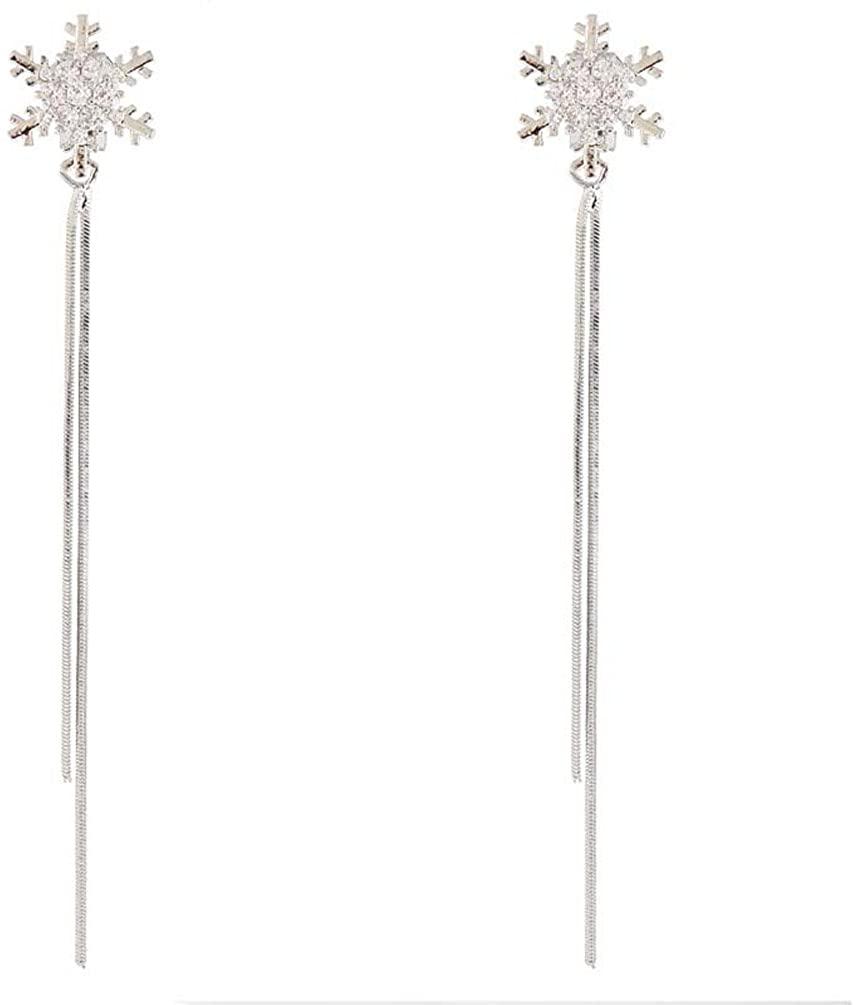 Clip on Earring Backs with Pads Dangle Long Tassel Snowflake Zirconia Women Girls Kids Jewelry Gift Box