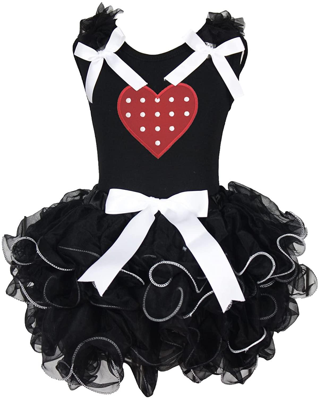 Valentine Dress Red Polka Dots Heart Black Shirt White Bow Petal Skirt Set 1-8y