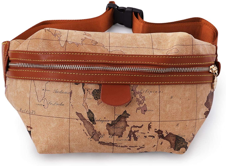 Waist Pack for Women Belt Bag Map Design Fashion Bags with Adjustable Belt